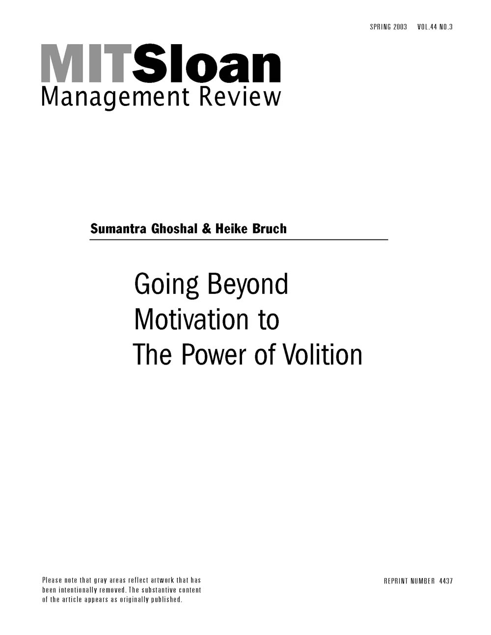 Going Beyond Motivation To The Power Of Volition Mit Smr Store