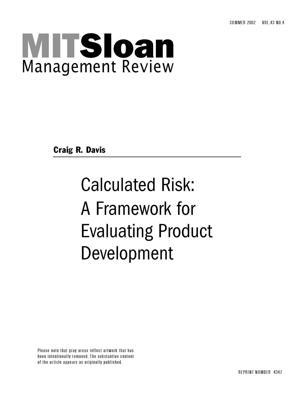 Calculated Risk: A Framework for Evaluating Product Development - MIT SMR  Store